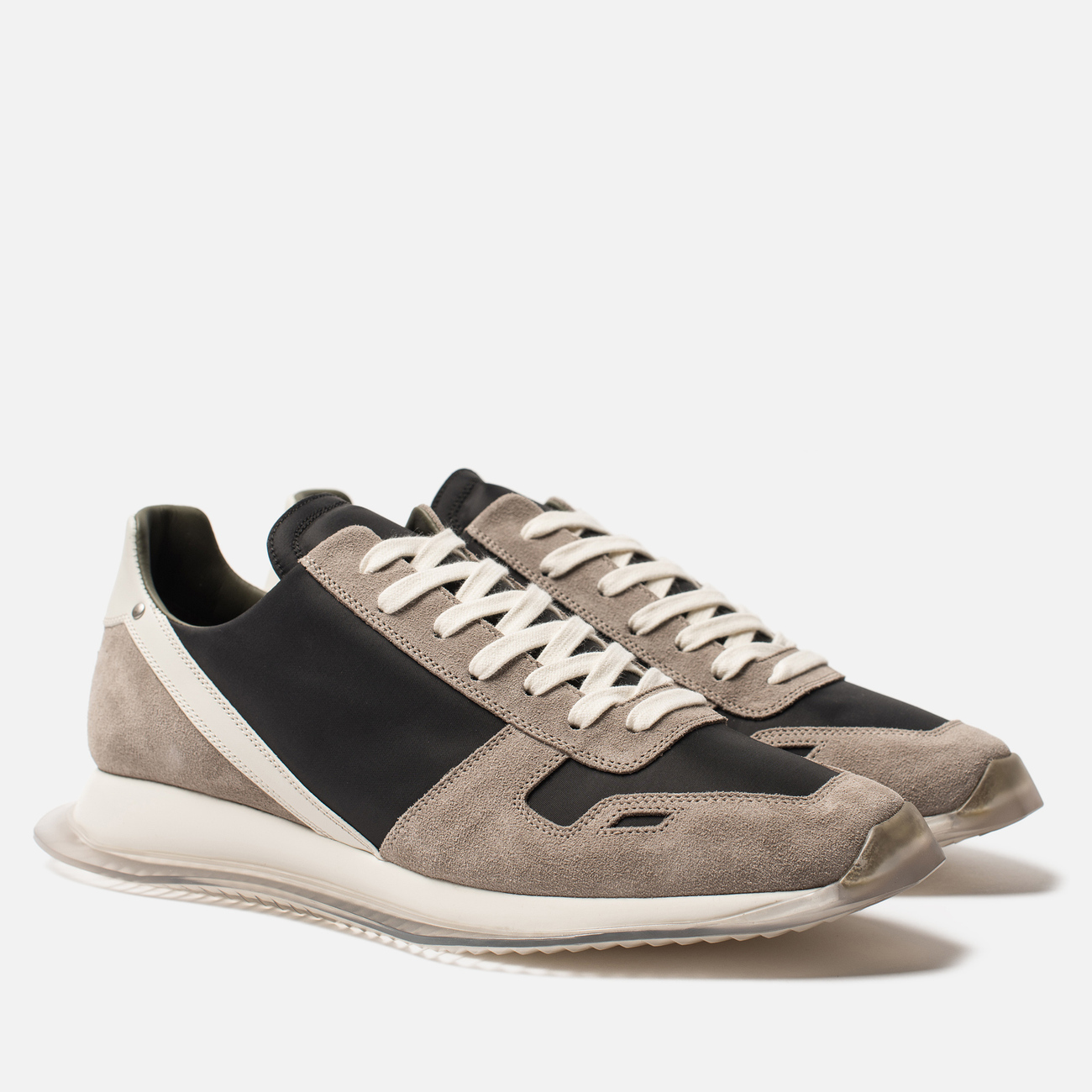 Мужские кроссовки Rick Owens New Vintage Runner Lace Up Tech Canvas/Velour Suede Black/Clear Sole