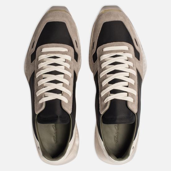 Мужские кроссовки Rick Owens New Vintage Runner Lace Up Tech Canvas/Velour Suede Black/Clear Sole