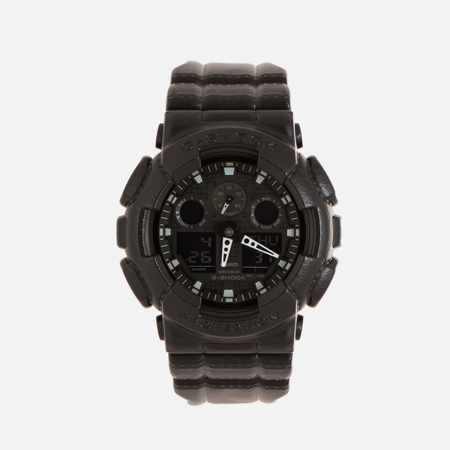 Мужские наручные часы CASIO G-SHOCK GA-100BT-1A Black Leather Texture Series Black
