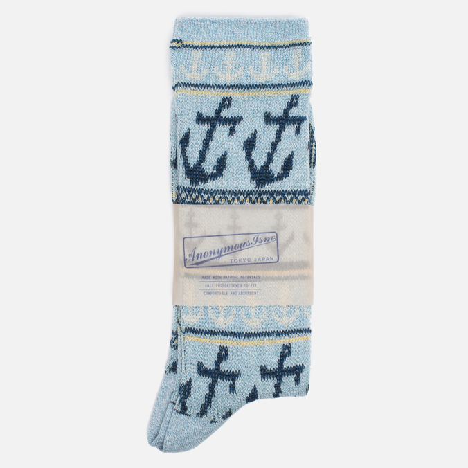 Мужские носки Anonymous Ism Anchor Jacquard Crew Light Blue
