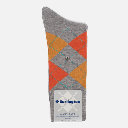Мужские носки Burlington Manchester Grey/Orange/Cream