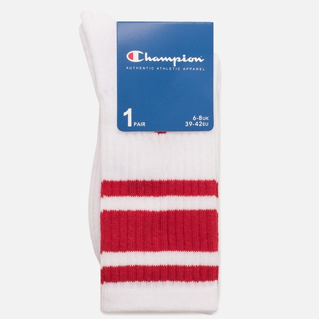Мужские носки Champion Reverse Weave Crew White/Red