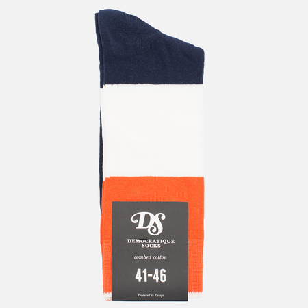 Мужские носки Democratique Socks Originals Block Party Navy/Blood Orange/Broken White