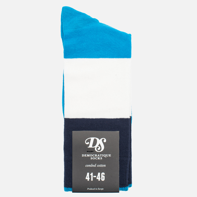 Носки Democratique Socks Originals Block Party Sea Blue/Navy/Broken White