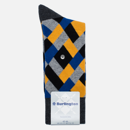 Burlington Geometric Men's socks Anthra Mel