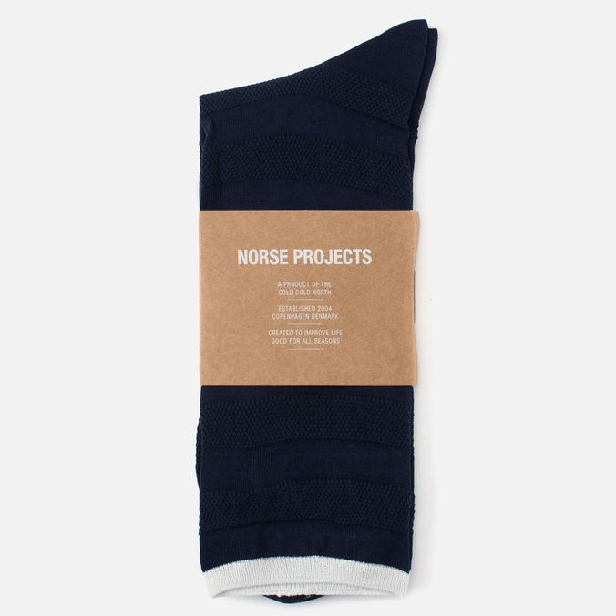 Мужские носки Norse Projects Bjarki Seed Stitch Navy