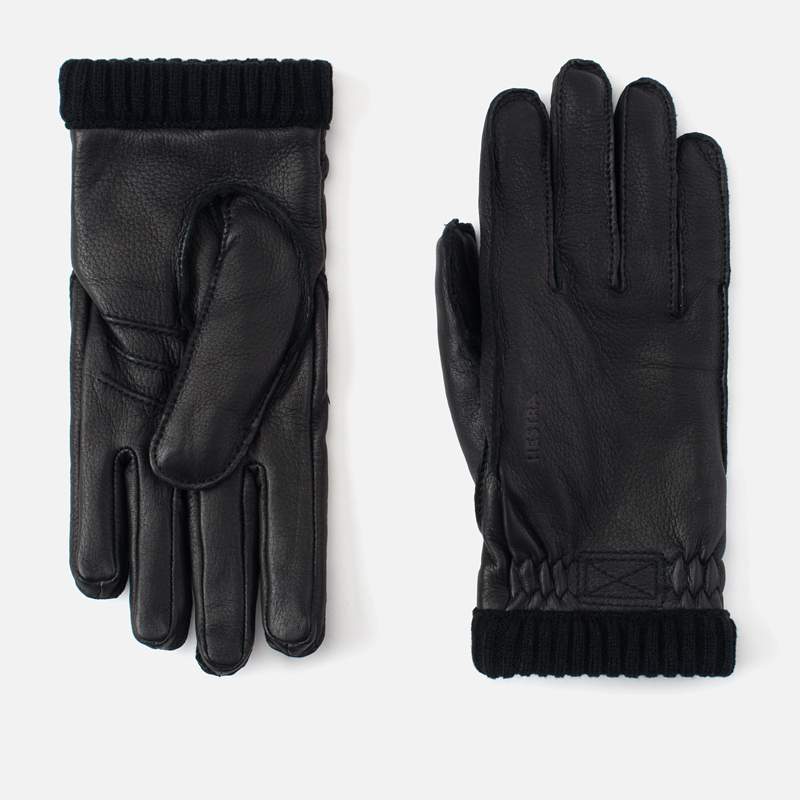 Мужские перчатки Hestra Deerskin Primaloft Ribbed Black