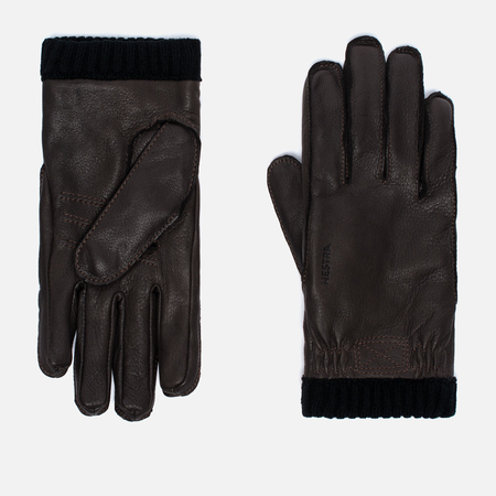 Hestra Deerskin Primaloft Ribbed Men's Gloves Dark Brown