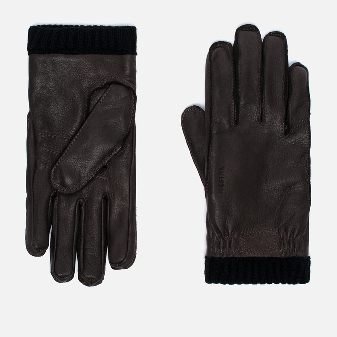 Мужские перчатки Hestra Deerskin Primaloft Ribbed Dark Brown