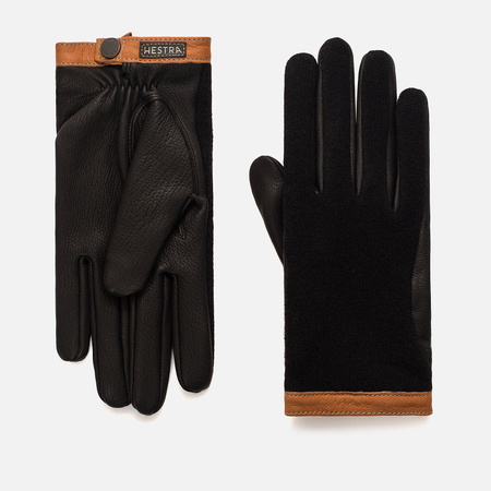 Мужские перчатки Hestra Deerskin Wool Tricot Black/Black