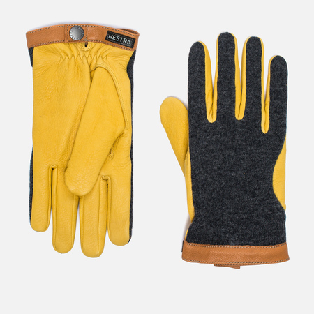 Hestra Deerskin Wool Tricot Men's Gloves Grey/Yellow