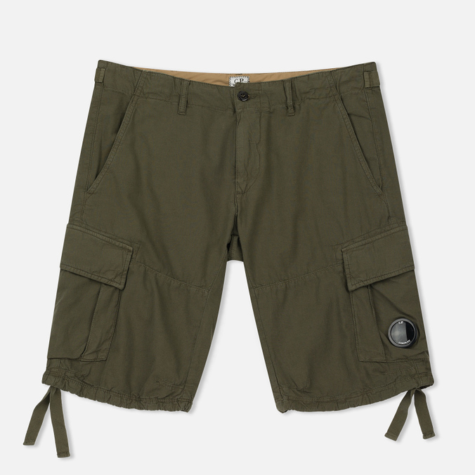 Мужские шорты C.P. Company Cotton And Linen Cargo Dark Olive