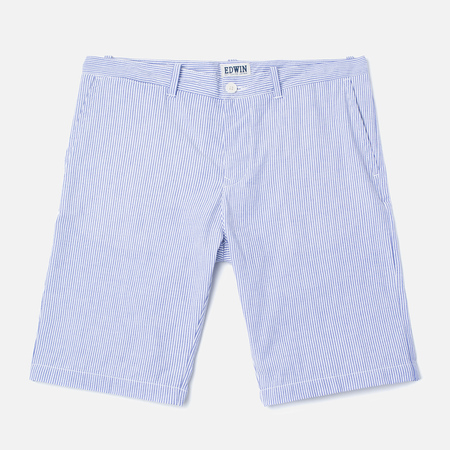 Edwin Rail French Striped Y/D Seersucker Men`s Shorts Navy/White