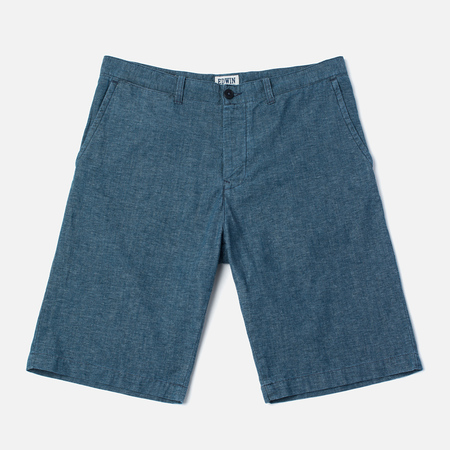 Edwin Rail Japanese Twisted Chambray 5.86 Oz Men`s Shorts Blue