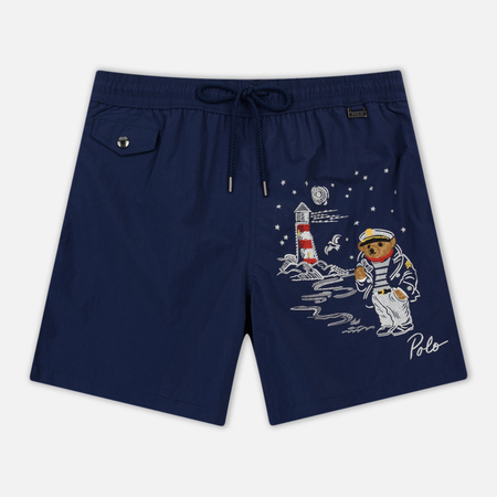 Мужские шорты Polo Ralph Lauren Print Bear And Lighthouse Explorer Swim Newport Navy