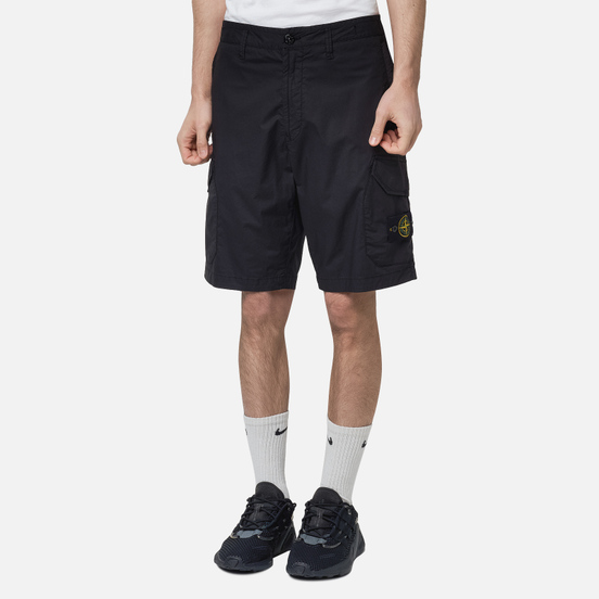 Мужские шорты Stone Island Cargo Stretch Cotton Gabardine Black