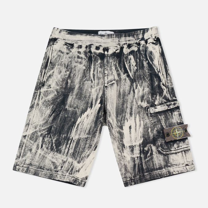 Мужские шорты Stone Island Hand Corrosion Bermuda Fleece Black