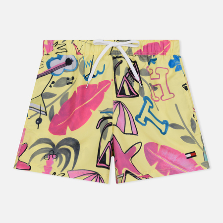 Мужские шорты Tommy Jeans Havana Beach Party Medium Drawstring Leaf Print Elfin Yellow