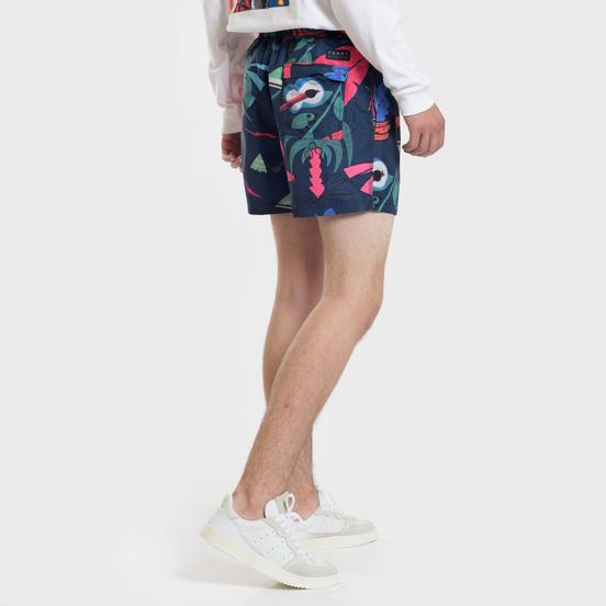 Мужские шорты Tommy Jeans Havana Beach Party Medium Drawstring Leaf Print Navy Blazer