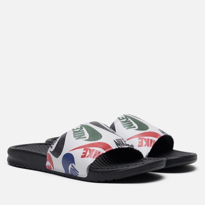 Мужские сланцы Nike Benassi JDI Swoosh Print Black/Black/White/Multicolor