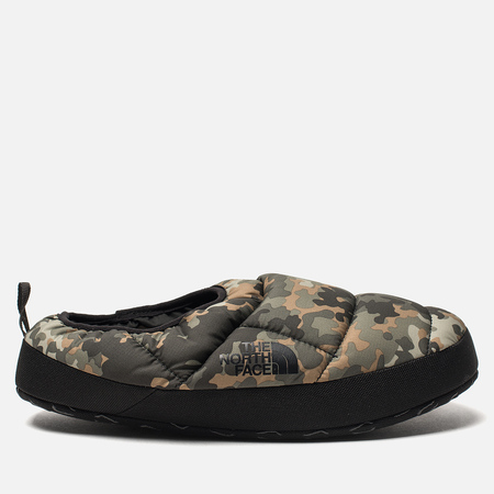 Мужские тапочки The North Face Nuptse Tent Mules III Tarmac Green Macrofleck Print/TNF Black
