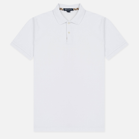 Мужское поло Aquascutum Hector Club Check Pique White