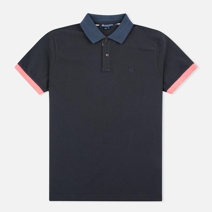 Мужское поло Aquascutum Timbs Contrast Collar & Cuff Logo Charcoal
