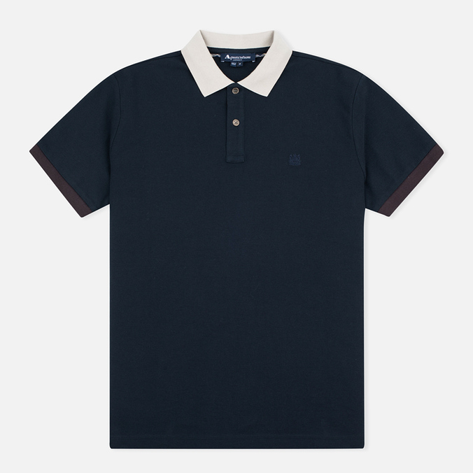 Aquascutum Timbs Contrast Collar & Cuff Logo Men's Polo Navy