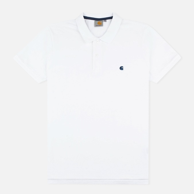 Мужское поло Carhartt WIP SS Slim Fit White/Blue