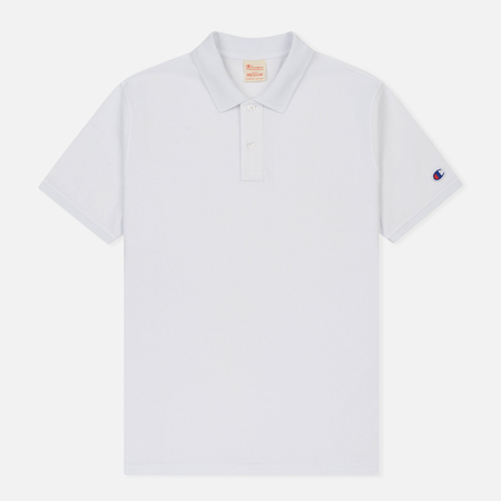 Мужское поло Champion Reverse Weave Logo Left Sleeve White