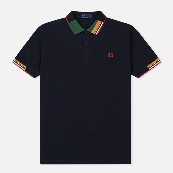 Мужское поло Fred Perry Abstract Collar Pique Navy