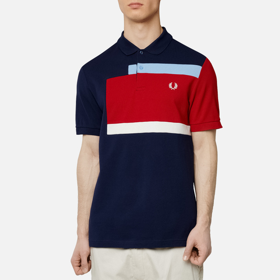 Мужское поло Fred Perry Abstract Panel Carbon Blue