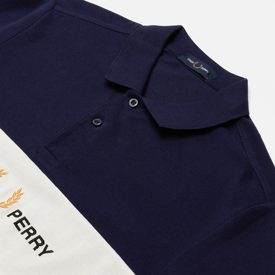 Мужское поло Fred Perry Embroidered Panel Carbon Blue