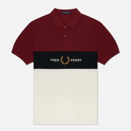 Мужское поло Fred Perry Embroidered Panel Tawny Port