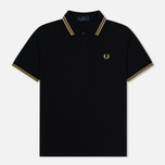 Мужское поло Fred Perry M12 Black/Champagne фото- 0