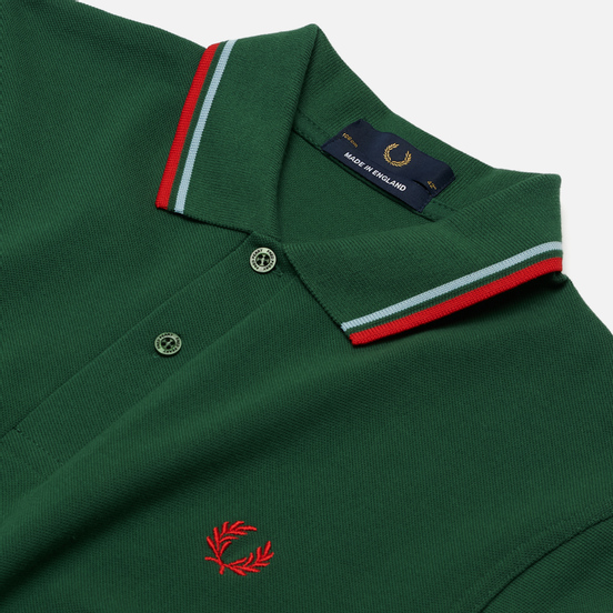 Мужское поло Fred Perry M12 Tartan Green/Ice/Red