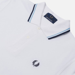 Мужское поло Fred Perry M12 White/Ice/Navy фото- 2