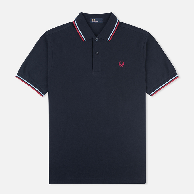 Мужское поло Fred Perry M1200 Navy/Glacier/Deep Red