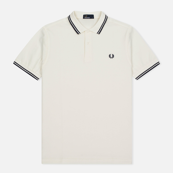 Мужское поло Fred Perry M3600 Snow White/Carbon Blue/Carbon Blue