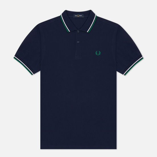 Мужское поло Fred Perry M3600 Twin Tipped Carbon Blue/White/Raf Green