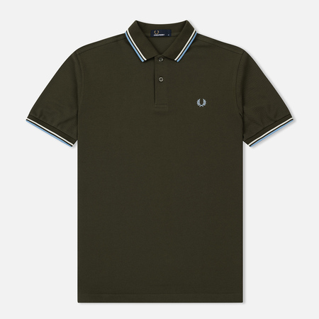 Мужское поло Fred Perry M3600 Twin Tipped Dark Fern/Snow White/Sky Blue