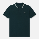 Мужское поло Fred Perry M3600 Twin Tipped Dark Pine/Snow White/Snow White фото- 0
