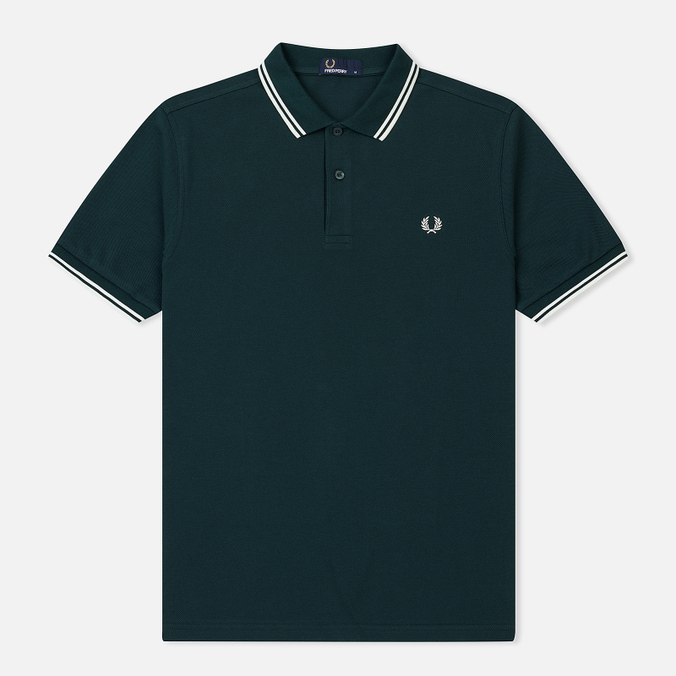 Мужское поло Fred Perry M3600 Twin Tipped Dark Pine/Snow White/Snow White