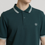 Мужское поло Fred Perry M3600 Twin Tipped Dark Pine/Snow White/Snow White фото- 3