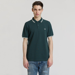 Мужское поло Fred Perry M3600 Twin Tipped Dark Pine/Snow White/Snow White фото- 1