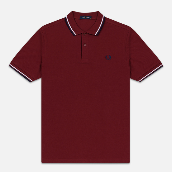 Мужское поло Fred Perry M3600 Twin Tipped Dark Red/White/Carbon Blue