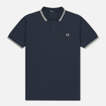 Мужское поло Fred Perry M3600 Twin Tipped Inky Blue/Snow White/Snow White фото- 0