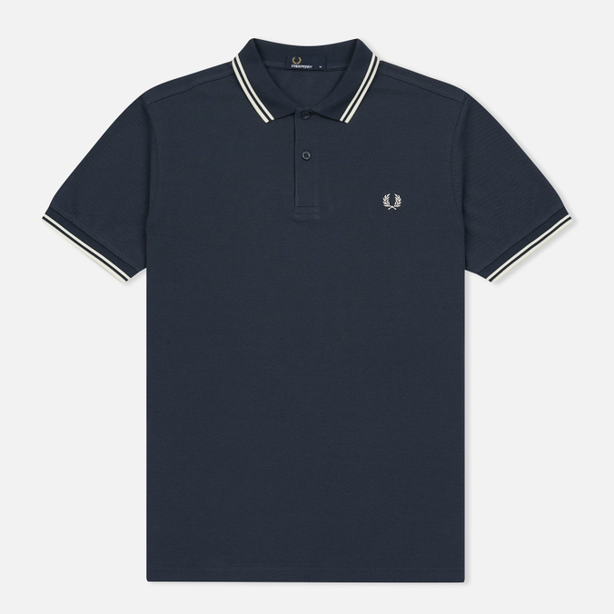 Мужское поло Fred Perry M3600 Twin Tipped Inky Blue/Snow White/Snow White