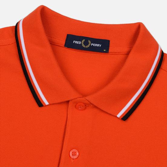 Мужское поло Fred Perry M3600 Twin Tipped International Orange/White/Black