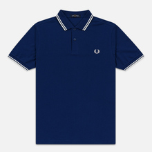 Мужское поло Fred Perry M3600 Twin Tipped Medieval Blue/Snow White/Snow White фото- 0